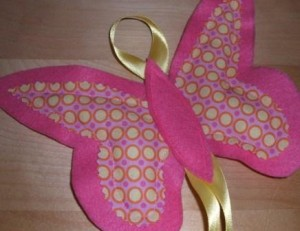 pink and yellow butterfly hair clip holder