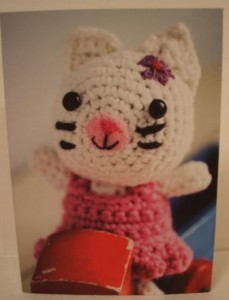 Cute crochet card cat