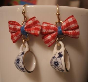 teeny tiny teacup earrings hanging