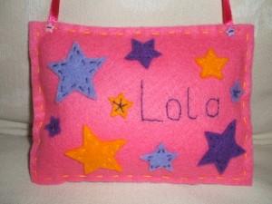 Finished Lola felt cushion with stars