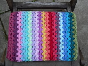 Granny stripe blanket - first round complete