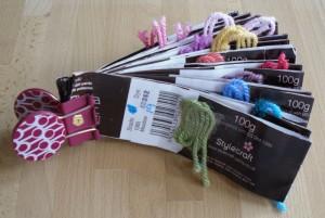 Granny stripe blanket yarn labels