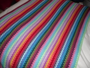 Granny stripe blanket half way