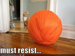 Giant ball of orange yarn